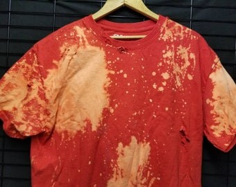 Red Bleached Distressed Wrecked Tshirt