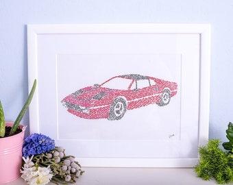 Ferrari 308- A4 calligraphy print