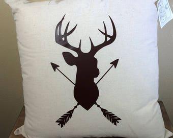 Natural Canvas Pillow - Deer