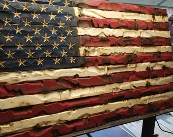 American Flag 36 x 72 Hand Carved by Combat Veterans