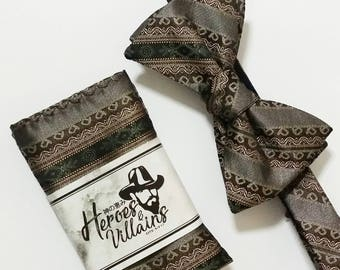 Brown batik self tie bow tie,brown bow tie,grey bow tie wedding bow ties,groomsmen bow tie,silk bow tie,stripe bow ties,batik bow tie set