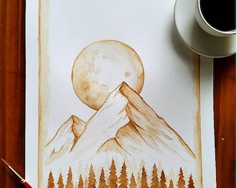 Moonlit Mountains Coffee Painting