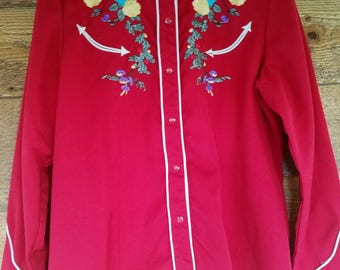 Scully Red Embroidered Guitar Western Womens Shirt Size Medium
