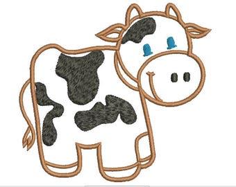 Little Cow Applique Embroidery Design Cow Applique Machine Embroidery Design  Cute Machine Embroidery Digitized Design - Instant Download