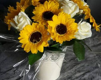 Beautiful sunflower soap rose bouquet in a metal pail.. Yes all flowers are soap