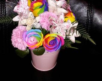 Rainbow soap roses pail bouquet arrangement ideal gift mothers day