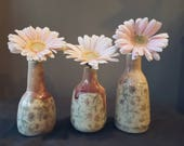 Handmade pottery pink bud vase, set of 3, mini vase, handmade gift, handmade ceramic stoneware, home decor, flower vase, FREE SHIPPING