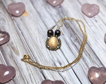 Self Love Necklace with Rose Quartz and 2 Fresh Water Pearls on a Double Chain 14k Platted Gold and Silver Plated