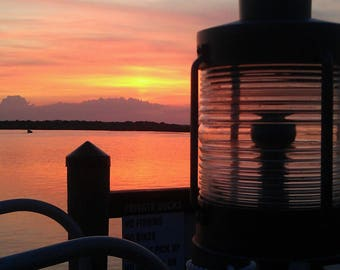 Lantern over bay sunset photography photo scene