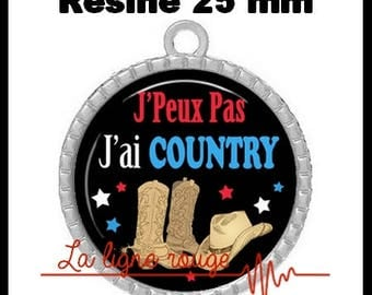 Pendant cabochon silver round 25 mm epoxy resin - I can not I Country! (2090)