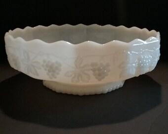 Vintage Anchor Hocking Fire-King Harvest Grape Pattern White Milk Glass flower/serving bowl ,Ruffled Edge