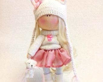 Tilda doll Interior doll Handmade doll Soft doll Textile doll Art doll Cloth doll Violet doll Fabric doll Rag doll Baby