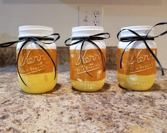 Set of 3 Pint Mason Jars,  Halloween Decor, Fall Decor, home Decor, white, orange, yellow, Decor, Farm House, Rustic, Gift.