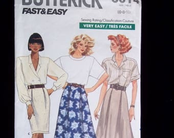 Retro 80's Pencil Skirt, Flared Skirt, Front Pleats Sewing Pattern- Easy to Sew Butterick 6014 Size 6-8-10 UNCUT