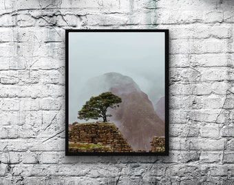 Travel Photography, Machu Picchu Photography, Digital Download, Printable Wall Art, Misty image, Peru Photo, Home Decor, travel print, art