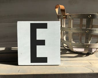 farmhouse-farmhouse sign-initial sign-E sign-initial decor-wood decor-wood sign-self sitting sign-shelf sitter