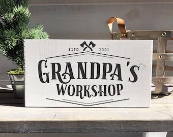 grandpa gift-grandpa's workshop-grandfather gift-grandfather sign-grandpa sign-christmas gift-personalized gift-wood sign-personalized sign