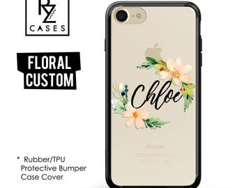Personalized Case,Floral Phone Case, iPhone 7 Case, iPhone 6s Case, Floral iPhone Case, iPhone 5 Case,  Rubber Case, Bumper Case