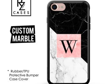 Custom Name Marble Phone case, personalised iPhone 7 case, Gift for Her, iPhone 7 Plus, iPhone 6S, Rubber Case, Bumper Case Cover