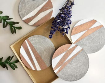 "Concrete coasters/ Geometric rosegold coasters/4.25"" Coasters/ Set of 2, 4, 6/ Geometric patterns/ Housewarming gift/"