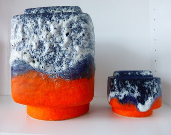 A beautiful set of Dumler & Breiden Relief vase, with formnumbers, 83-21 and 81-9, West Germany 1970.