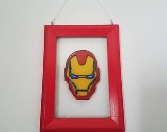Hand Painted Iron Man Framed Glass