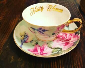 Nasty Woman | 8oz vulgar teacup and saucer set