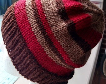 Chocolate Maroon Tan Knitted Hat