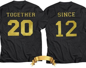 Together since shirts couple t shirt couple tees couple tshirts couple t shirts anniversary ,Any number! Couple T-shirts set-CUSTOM NUMBER