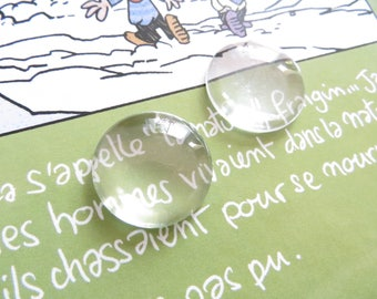set of 4 25mm glass magnifying cabochons