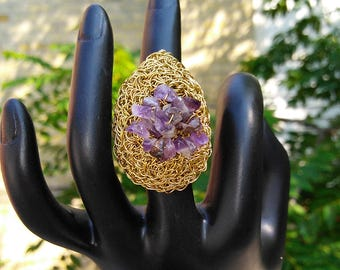 Handmade Crochet Brass Wire Statement Ring with Amethyst Stone Chips