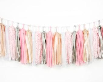 Light Gold Tassel Garlands, Pastel Pink, Pink Polka Dots, Tissue Paper Tassels, Dusty Pink Silver Tassel Banner, Baby Shower, Princess Party