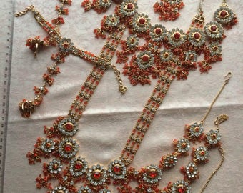 Orange indian kundan full necklace bridal Bollywood set