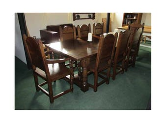Refectory dining table and chairs.