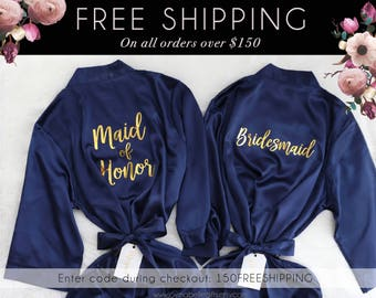 Maid of Honor Bridesmaid | Personalized Bridesmaid Robes | Navy Robes | Bridesmaid Gifts | Bride Robe | Bridesmaid Robes | Wedding Gifts