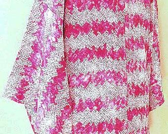 Vintage Japanese Silk Haori Jacket – Silk Kimono Jacket, Shibori, Handmade, Hand Dyed Japanese Silk Fabric – Japanese Wall Décor