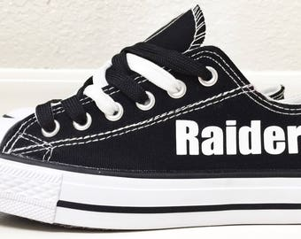 Custom Raiders Womens & Mens Black, White, Canvas Tennis Shoes