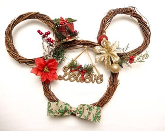 Believe Mickey Silhouette Holiday Wreath