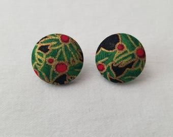MISTLETOE  fabric cover button earrings