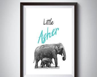 Nursery printable, Nursery decor , Digital print, Baby boy nursery wall decor, Baby room art, baby boy Asher name, Poster