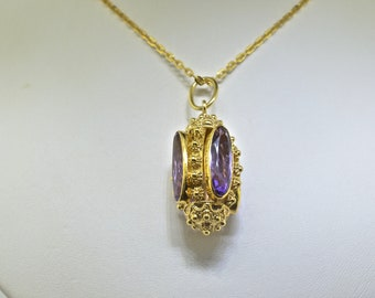 18k Gold And Amethyst Necklace 21 inches