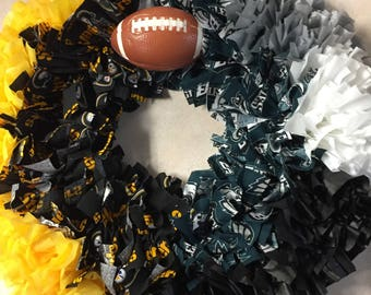 Steelers and Eagles mixed Wreath