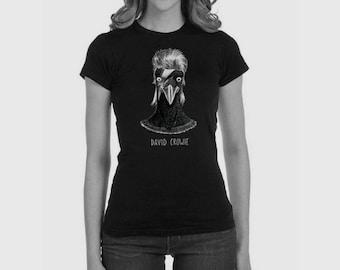 Women's fitted t-shirt 'David Crowie', black