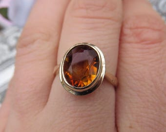 Vintage 9ct Yellow Gold  Citrine Solitaire Ring, Size K, Statement Ring, Engagement Ring, Vintage, Antique, Citrine Ring, Citrine Solitaitai