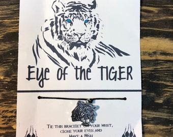 Eye of the Tiger wish bracelet.Tiger charm bracelet .Rocky -eye of the tiger card.wish bracelet