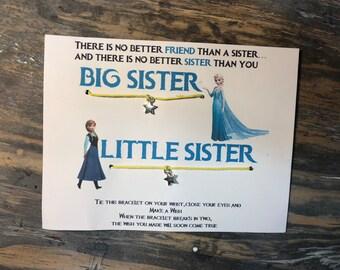 Sisters wish bracelet.Frozen wish bracelet.Anna & Elsa bracelet.Friendship wish bracelet.Big sister little sisiter bracelet.Disney wish