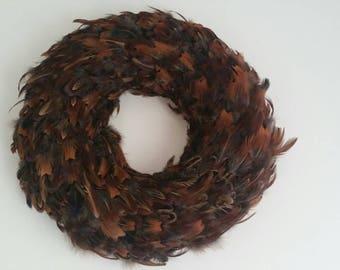 Large 40cm pheasant feather wreath