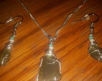 Handwrapped Beach glass jewelry