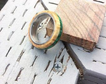 box elder burl with malachite inlay ring