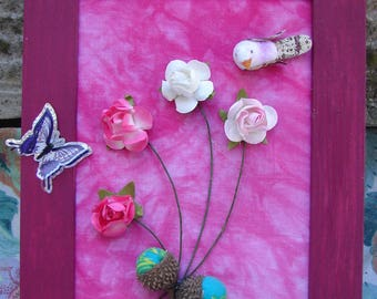 """""""Miniature"""" to hang or place floral painting"""